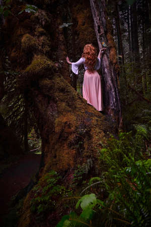 Red head woman in big old mossy tree holding a bird on her hand and the other bird flying to her. Ancient cypress grove in Oregon near Salem.  Silver Falls Park. USA