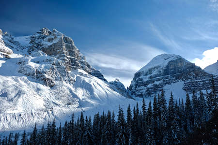 Canadian Rockies in winter. Fresh snow in mountaisn. Plain of Six Glaciers hiking trail in Banff National Park. Alberta. Canada.