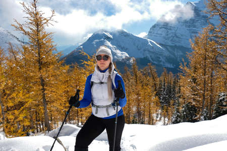 Young woman backcounrty skiing in yellow larch alpine forest. Canadian Rockies in winter. Lake Louise area.  Banff National Park. Alberta. Canada Фото со стока