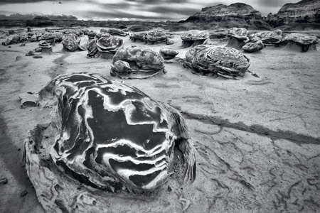 Cracked dinosaur eggs in rock desert. Bisti Wilderness. Arizona. United States of America