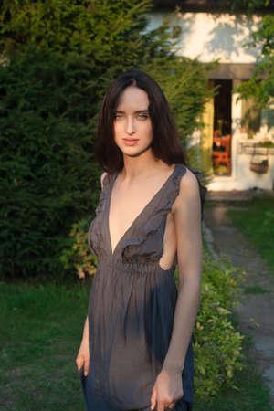 outdoor shot: Sensual girl portrait. Outdoor shot Stock Photo
