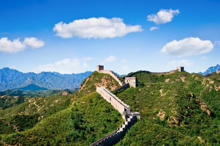 Great Wall of China in summer day, Jinshanling section near Beijing photo