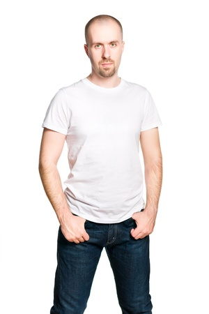 bald man: Handsome confident man in white t-shirt and blue jeans isolated on white
