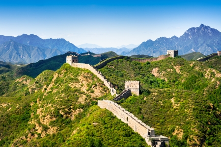 greatwall: Great Wall of China in summer day, Jinshanling section near Beijing