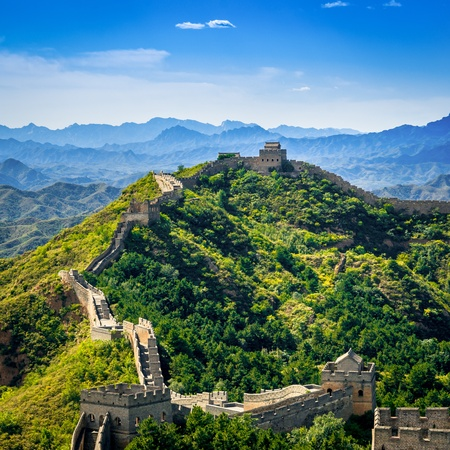 green wall: Great Wall of China in summer day, Jinshanling section near Beijing