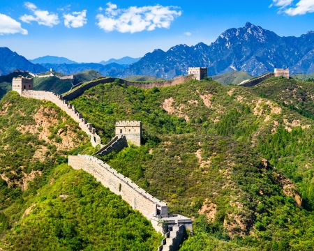of cultural: Great Wall of China on summer sunny day, Jinshanling section near Beijing