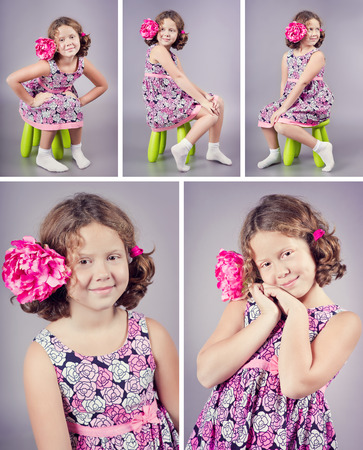 Studio portraits of a beautiful girl with a pink flower in her curly hair. Set of photos, collage of photos. Pink and purple colours Фото со стока