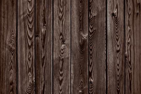Natural wooden brown and chocolate boards wall or fence with knots. Abstract texture background empty template