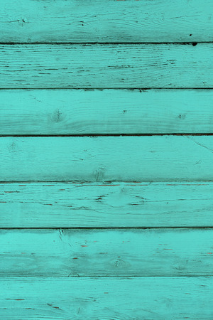 greenish blue: Natural wooden turquoise boards, wall or fence with knots. Mint painted wooden horizontal planks. Abstract textured background, empty template Stock Photo