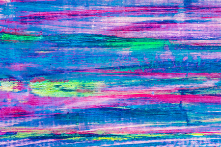 Natural wooden multi-colored oil painted board. Abstract texture background, empty template. Melange colors: pink, purple, blue, yellow, green, turquoise