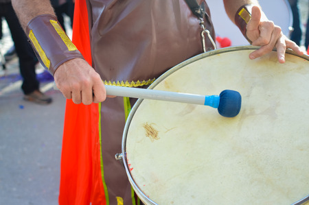 epic: Closeup detail of battalion drums during epic reenactment parade