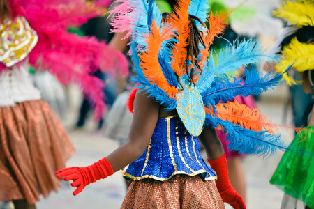 Back view of carnaval parade participants with colorful feathers. closeup photo Banco de Imagens