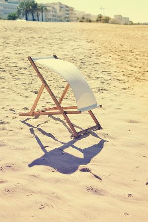 deckchair: Back View Of Deckchair On Sandy Beach Vacation