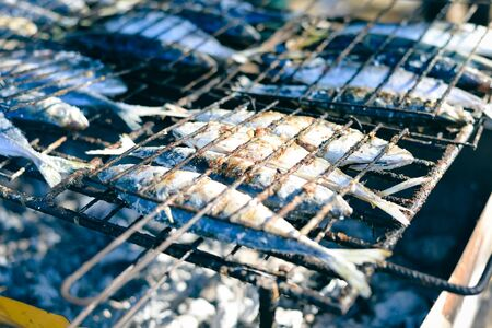 blue fish: Mackerel roast on grill barbecue, flat lay, top view closeup