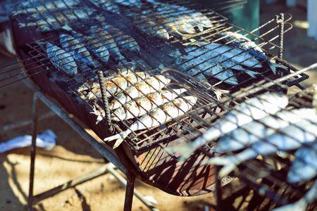 coal fish: Mackerel roast on grill barbecue, flat lay, top view closeup