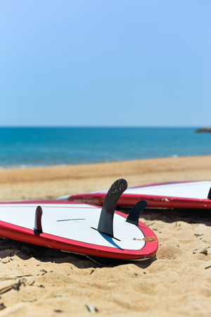 fins: Ocean view, surfboard tail with three fins, blue sky background