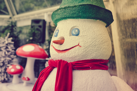 Smiling snowman Christmas festive time background Stock Photo
