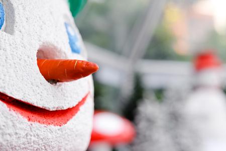 Smiling snowman Christmas festive time background Stock Photo