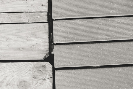 timbering: Wooden sandy beach boardwalk background closeup image Stock Photo