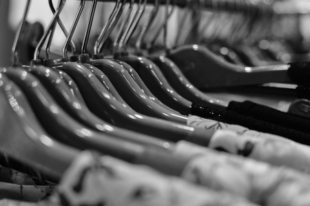 Closeup image of clothing hangers, abstract background
