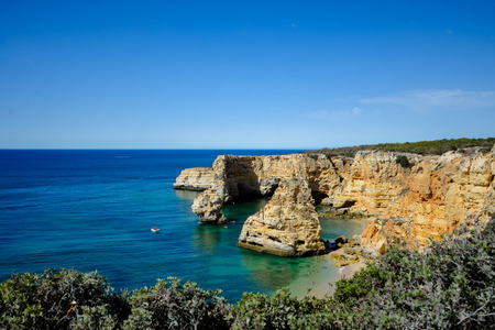 Navy Beach - Praia da Marinha paradise view of beautiful famous beach, location near Albufeira between Lagoa Carvoeiro and Portimao Lagos. panorama of natural Algarve Faro Portugal outdoors background