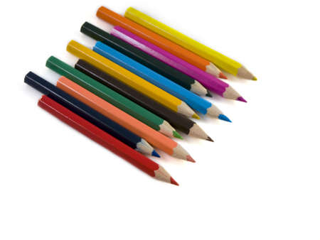 toyshop: Some coloured pencils on a white background
