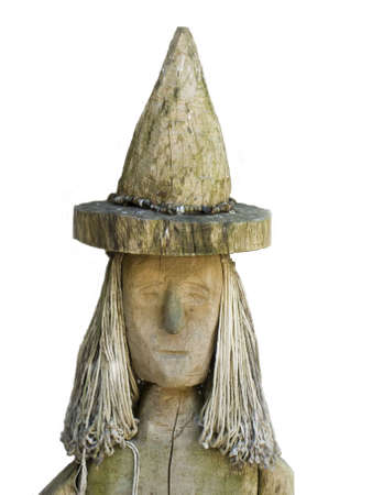 immaterial: A witch of wood on a white background