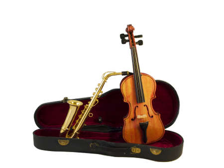 A violin and a saxophone standing in a case