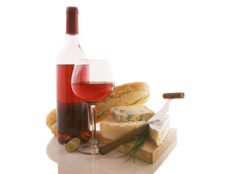 cheeses: French composition of wine and cheeses on a white background