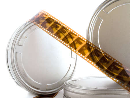 feature films: Movie tins with film on a white background