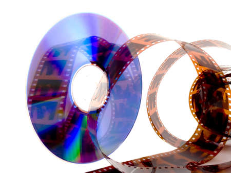 feature films: A dvd decorated with film on a white background Stock Photo