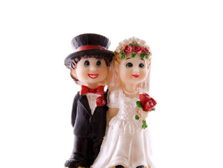 wedding reception decoration: Happy maried couple for decoration on cakes and pies Stock Photo