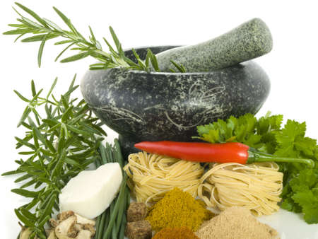 Mortar with different kind of herbs and spices Stock Photo - 4994560