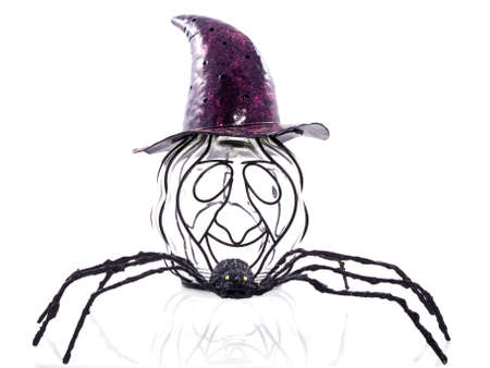 idiosyncratic: An odd pumpkin wearing a purple hat with a big black spider isolated Stock Photo