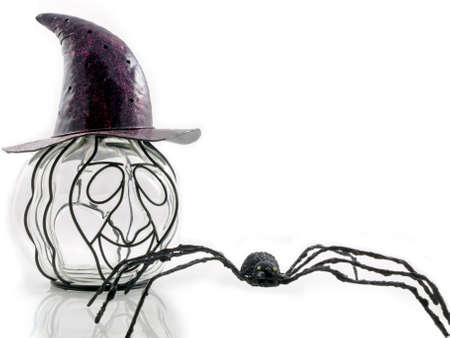 idiosyncratic: An odd pumpkin wearing a purple hat with a spider isolated