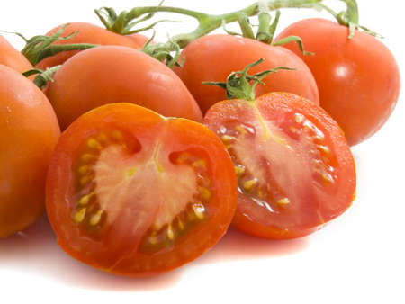 industrie: Close up tomatoes isolated on a white background Stock Photo