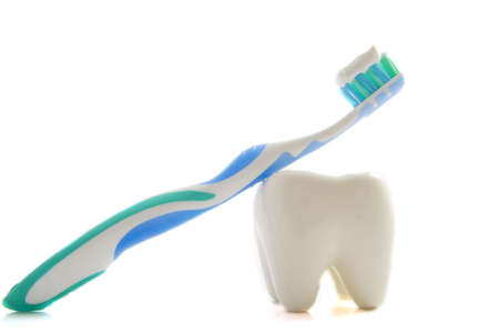 Toothbrush with paste isolated on a white background Stock Photo