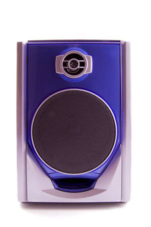 chrome base: Speaker in blue and silver isolated over white
