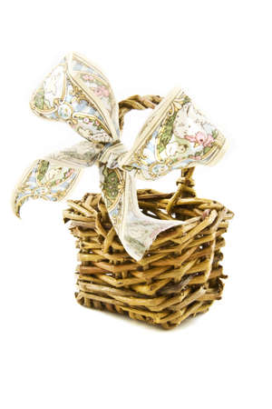 picknic: A rotan easter- basket isolated on a white background