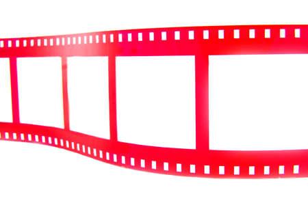 cinta pelicula: Tira de pel�cula red aislada sobre un fondo blanco