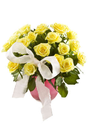 vase of flowers: Yellow roses with decorative knot in a pink vase isolated