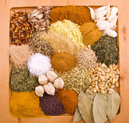 Lots of different spices on a wooden plate