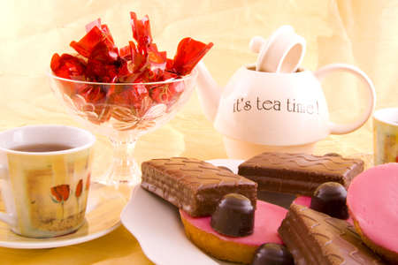 Tea with chocolate and cake for afternnoon party Stock Photo - 5962767