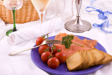 Dinner plate with salmon on a restaurant table Stock Photo - 5962769