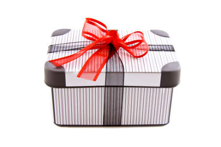 luxery: Luxery striped gift box with a red knot isolated over white