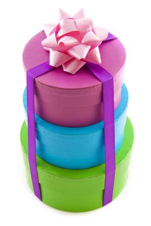 three gift boxes: Tres cuadros en una pila aislados sobre blanco de regalo Foto de archivo