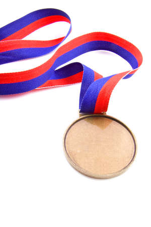 Medal with red and blue isolated over white Stock Photo - 6209516