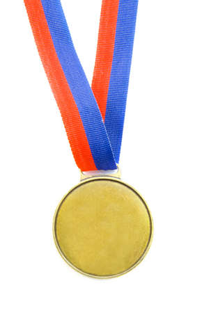 sports competition medal with red and blue isolated over white Stock Photo - 6209515