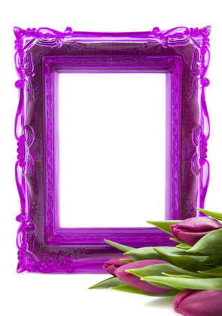 Purple picture frame with purple tulips on a white background photo