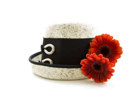 Grey black hat with red flowers isolated over white Stock Photo - 6392299
